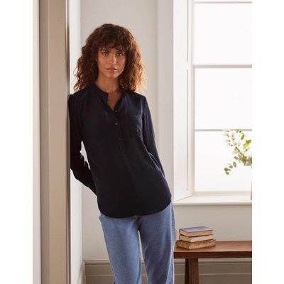 Silk Collarless Blouse Navy Christmas Boden, Navy