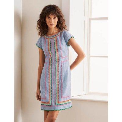 Laura Linen Embroidered Dress Blue Women Boden, Blue