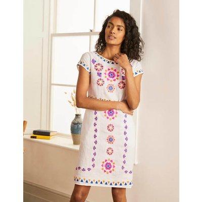 Laura Linen Embroidered Dress White Women Boden, White