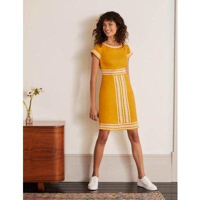 Laura Linen Embroidered Dress Yellow Women Boden, Yellow
