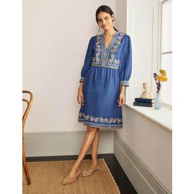 Dakota Embroidered Linen Dress Blue Women Boden, Blue
