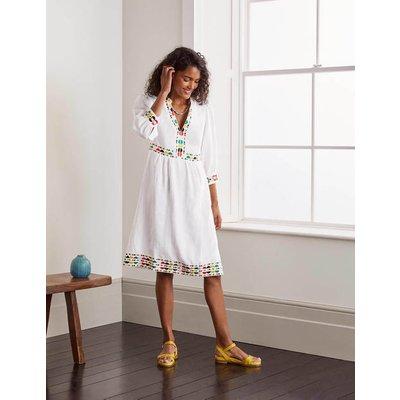 Dakota Embroidered Linen Dress White Women Boden, White