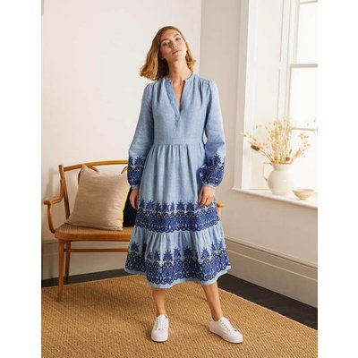 Eden Embroidered Linen Dress Grey Blue Chambray Women Boden, Grey Blue Chambray