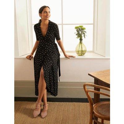 Lavinia Jersey Wrap Dress Black, Polka Dot Women Boden, Black, Polka Dot