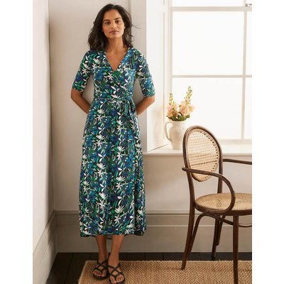 Lavinia Jersey Wrap Dress Black, Tropical Palm Women Boden, Black, Tropical Palm