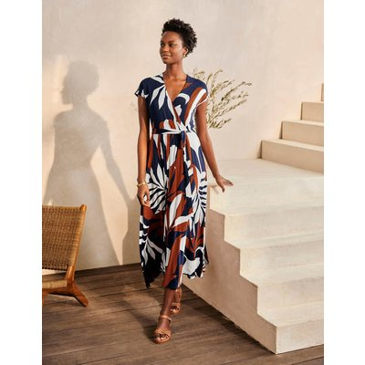 Eleanor Jersey Midi Dress Navy, Tropical Flora Women Boden, Navy, Tropical Flora