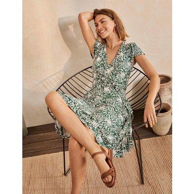 Evangeline Jersey Wrap Dress Palm Leaf, Tropical Charm Women Boden, Palm Leaf, Tropical Charm