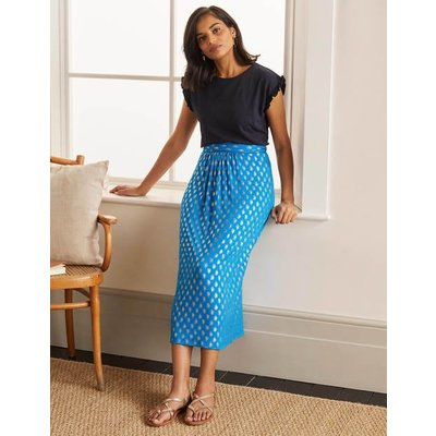 Ruched Waist Skirt Moroccan Blue, Paisley Stamp Women Boden, Moroccan Blue, Paisley Stamp