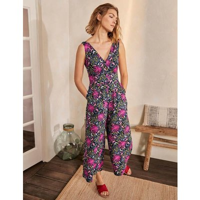 Jemima Linen Jumpsuit French Navy, Tropical Charm Women Boden, French Navy, Tropical Charm