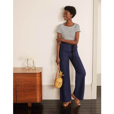 Portree Belted Trousers Navy Women Boden, Navy