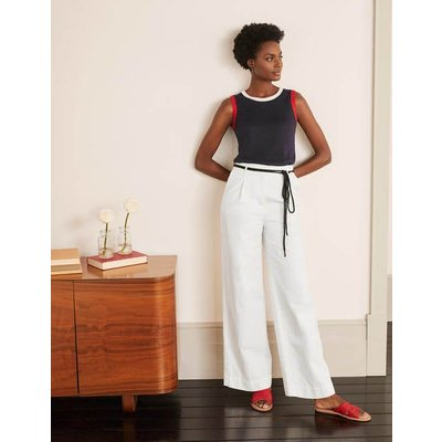 Portree Belted Trousers White Women Boden, White