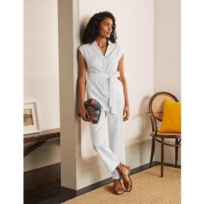 Catriona Linen Jumpsuit White Women Boden, White