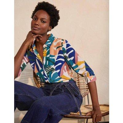 The Silk Shirt Ivory, Leafy Tropics Women Boden, Ivory, Leafy Tropics