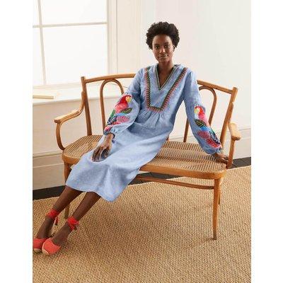 Leonie Linen Dress Grey Blue Chambray Women Boden, Grey Blue Chambray