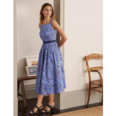 Aubrey Cotton Midi Dress Hazy Blue, Paisley Delight Women Boden, Hazy Blue, Paisley Delight