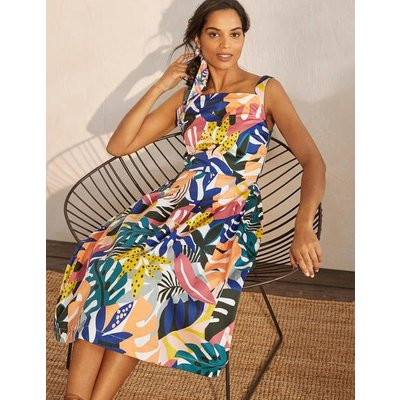 Aubrey Cotton Midi Dress Ivory, Leafy Tropics Women Boden, Ivory, Leafy Tropics