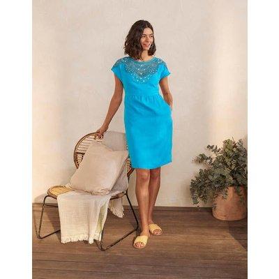 Fleur Embroidered Linen Dress Blue Lagoon Women Boden, Blue Lagoon