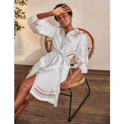 Zoe Embroidered Linen Dress White Women Boden, White