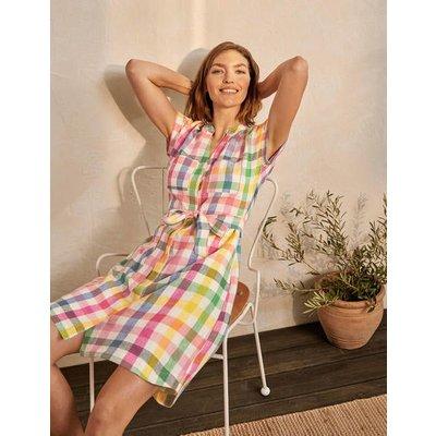 Evie Linen Shirt Dress Iguana, Party Pink Multi Women Boden, Iguana, Party Pink Multi