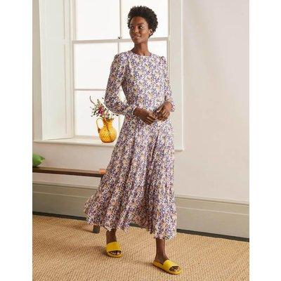 Annie Tiered Midi Dress Ivory, Peony Burst Small Women Boden, Ivory, Peony Burst Small