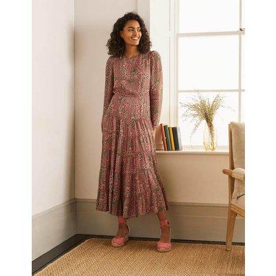 Annie Tiered Midi Dress Azalea, Ornate Floral Women Boden, Azalea, Ornate Floral