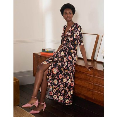 Lavinia Jersey Wrap Dress Black, Opulent Floral Women Boden, Black, Opulent Floral