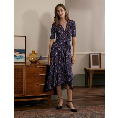 Lavinia Jersey Wrap Dress French Navy, Floral Paisley Women Boden, French Navy, Floral Paisley