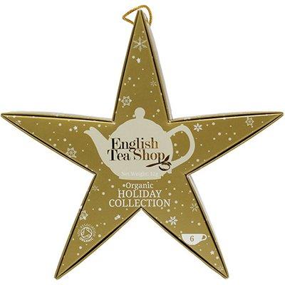 English Tea Shop Organic Holiday Collection Hanging Gold Star 6 Pyramid Tea Bags