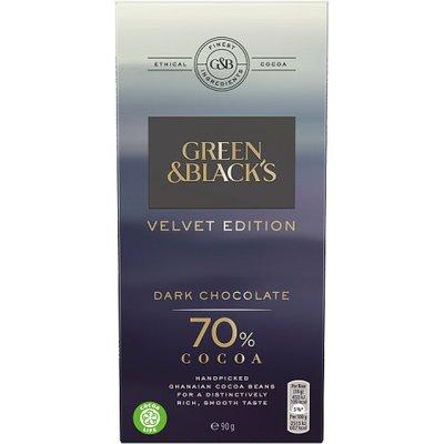Green and Blacks Velvet Edition 70 percent Cocoa Dark Chocolate Bar