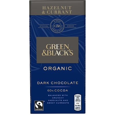 Green and Blacks Dark Hazelnut & Currant Bar
