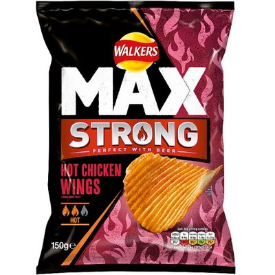 Walkers Max Strong Sharing Bag Hot Chicken Wings Crisps