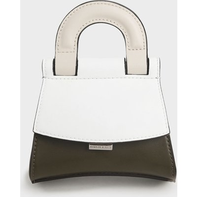 Mini Two-Tone Top Handle Pouch Bag