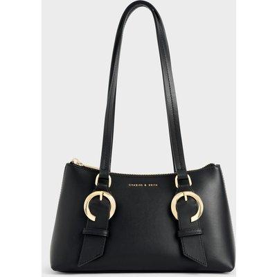 Ring Buckle Leather Shoulder Bag