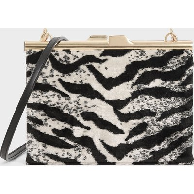 Velvet White Tiger Print Square Clutch