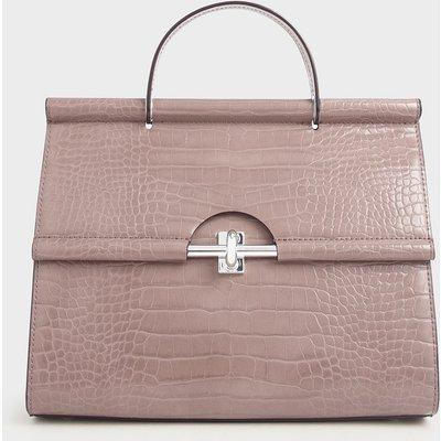 Croc-Effect Structured Single Top Handle Bag