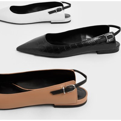 Croc-Effect Leather Ballerina Flats