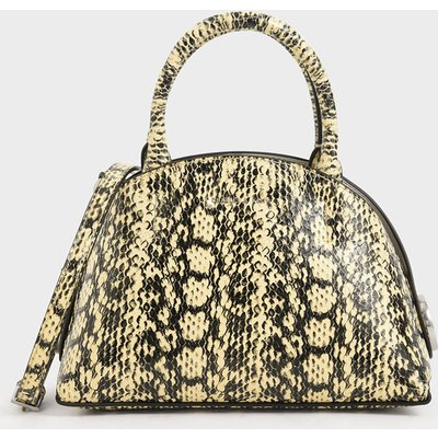 Snake Print Top Handle Dome Bag