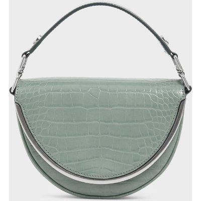 Croc-Effect Top Handle Semi-Circle Bag
