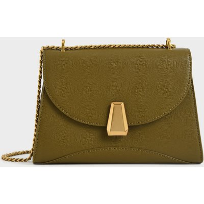 Metallic Push-Lock Trapeze Shoulder Bag