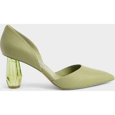 Geometric Heel D'Orsay Court Shoes