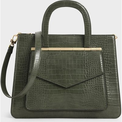 Croc-Effect Structured Tote Bag