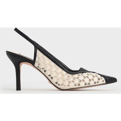 Crochet & Leather Slingback Court Shoes