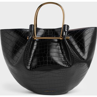 Croc-Effect Petal Fold Tote Bag
