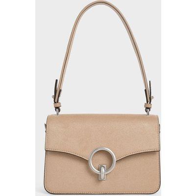Textured Turn-Lock Shoulder Bag
