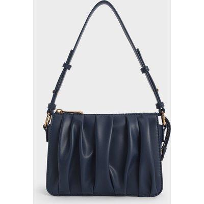 Beaded Strap Ruched Shoulder Bag