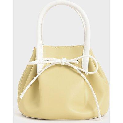 Two-Tone Drawstring Top Handle Bag