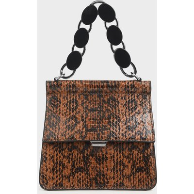 Small Snake Print Acrylic Top Handle Bag