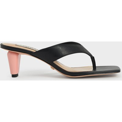 Leather Sculptural Heel Thong Sandals
