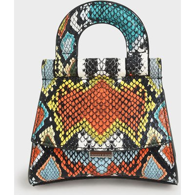 Mini Snake Print Top Handle Pouch Bag
