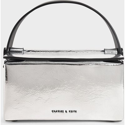 Metallic Top Handle Box Bag